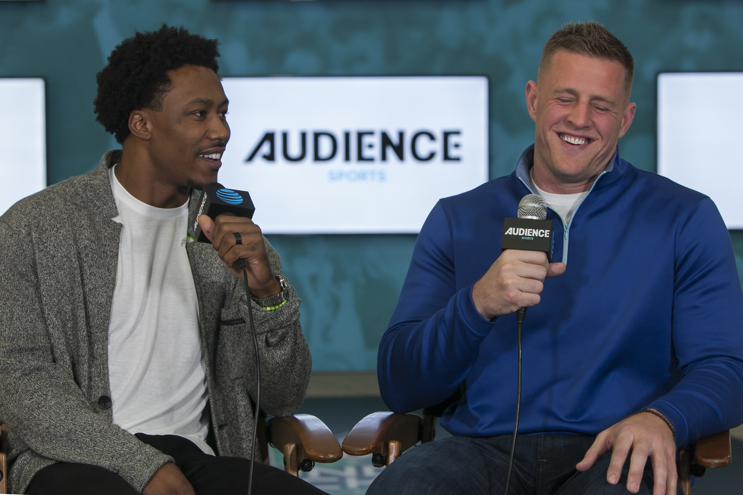 Brandon Marshall talks shop with the Texans' J.J. Watt.